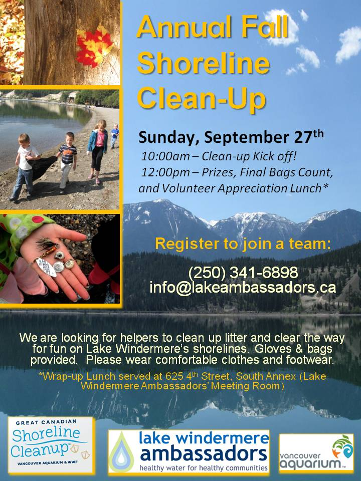 September 27: Annual Fall Shoreline Clean Up!
